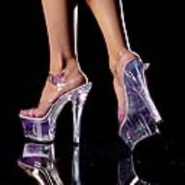 Boty NEONLITE-608, 6 Spike Heel CLEAR