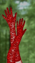 Sexy červené krajkové rukavice