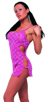 Lace Chemise Set w. Open Sides - Pink