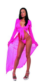 Mesh Long Dress Set - Fuschia
